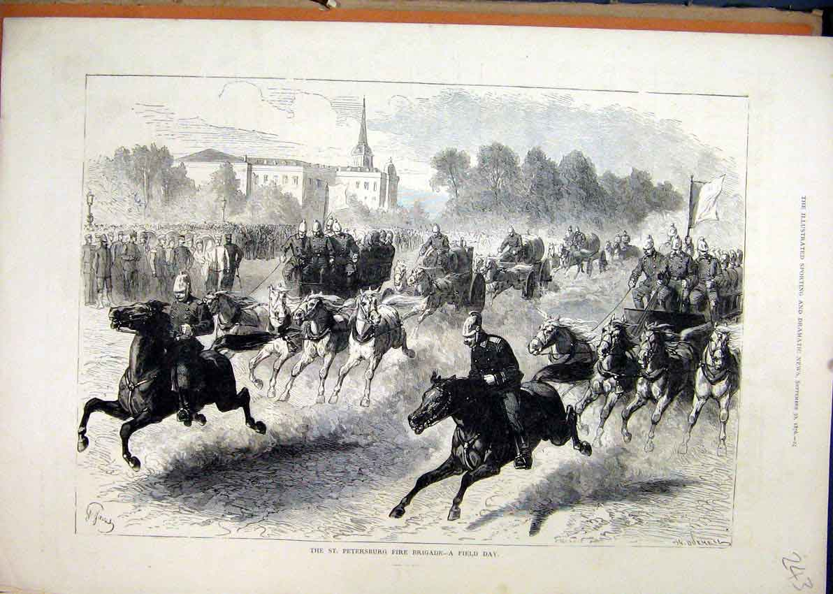 Print 1876 Petersburg Fire Brigade Horses Racing Street 43Mar1 Old Original