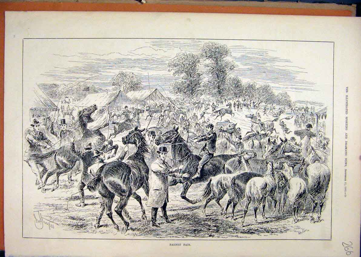 Print 1883 Barnet Fair Horses Frightened Tents Country Scene 66Mar1 Old Original