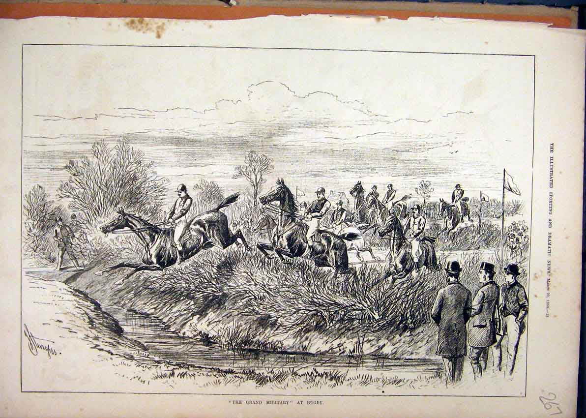 Print 1880 Grand Military Rugby Horses Jumping Ditch 67Mar1 Old Original