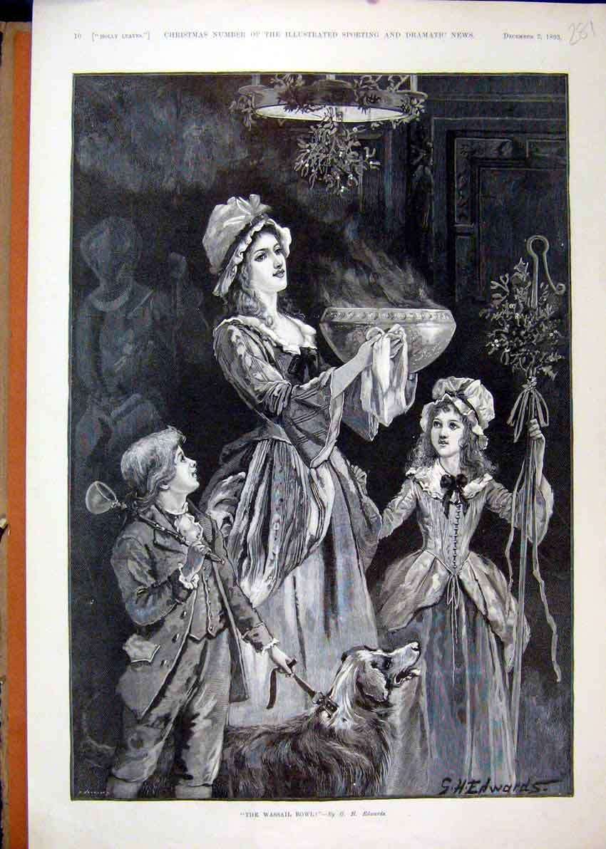 Print Wassail Bowl 1893 Woman Children Dog Carrying Fine Art 81Mar1 Old Original