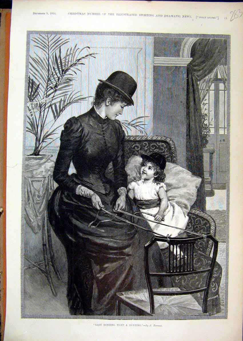Print 1891 Baby Bunting Hunting Woman Little Girl Chair 83Mar1 Old Original