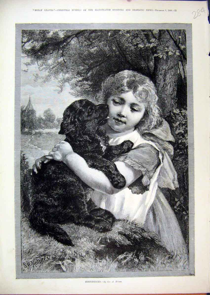 Print 1888 Little Girl Puppy Kissing Tree Country Scene 84Mar1 Old Original