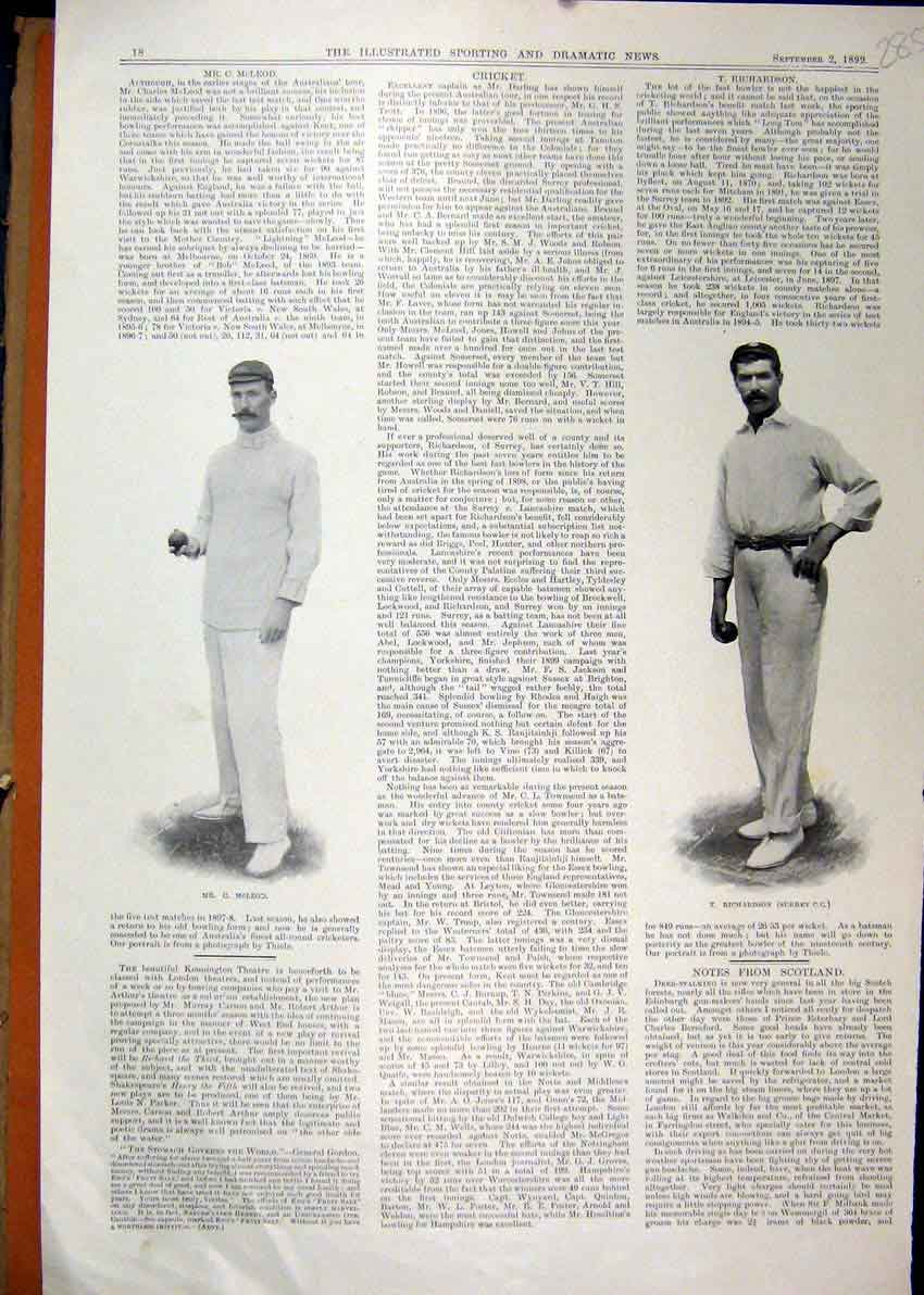 Print 1899 Cricket Player Richardson Surrey Mcleod Sport 85Mar1 Old Original