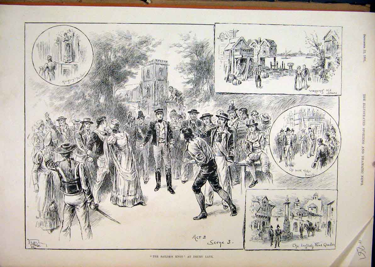 Print 1891 Sailor Knot Drury Lane Theatre Scenes 87Mar1 Old Original