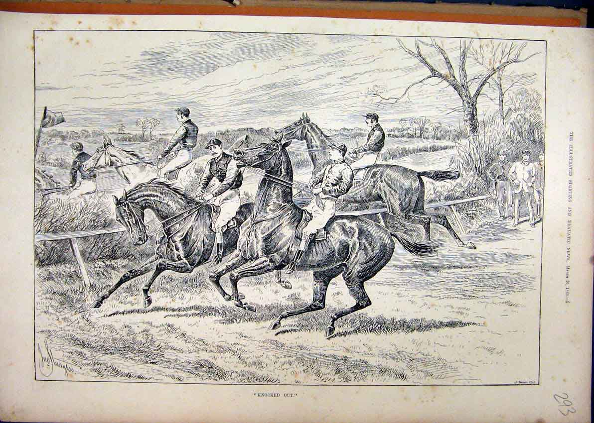 Print Horses Jumping Fences 1889 Refusing Riders Country 93Mar1 Old Original