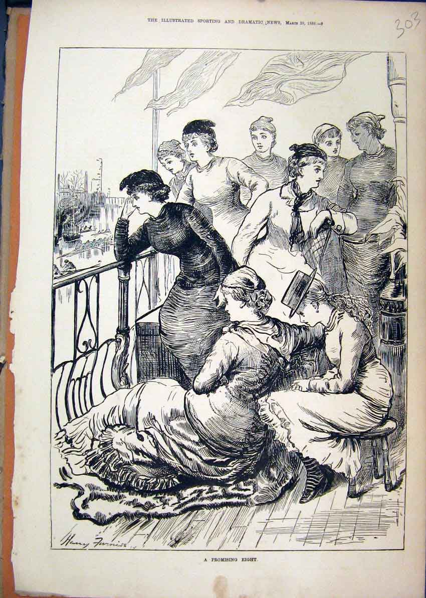 Print Woman Watching Balcony 1880 Boat Race 03Mar1 Old Original