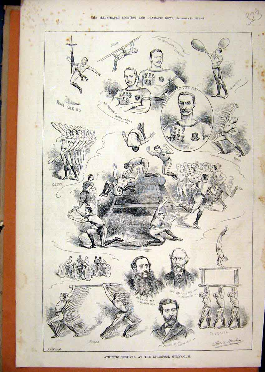 Print Athletic Festival Liverpool Gymnasium 1883 Men Acrobat 23Mar1 Old Original
