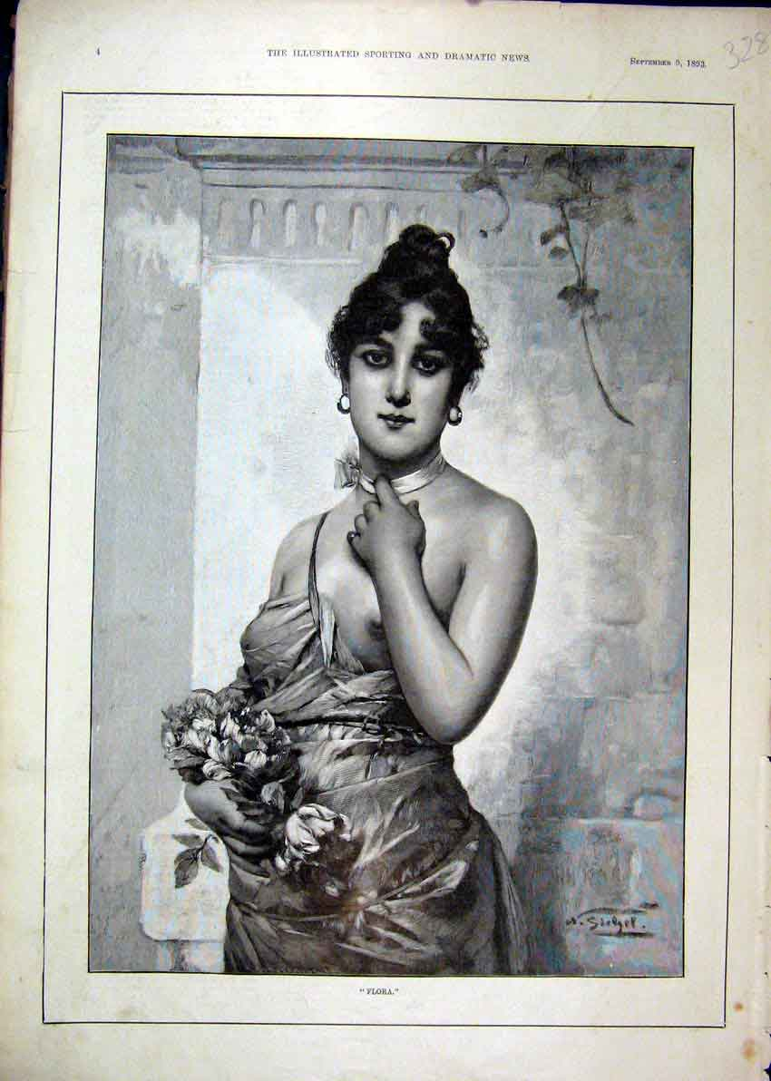 Print 1893 Portrait Beautiful Woman Carrying Flowers 28Mar1 Old Original