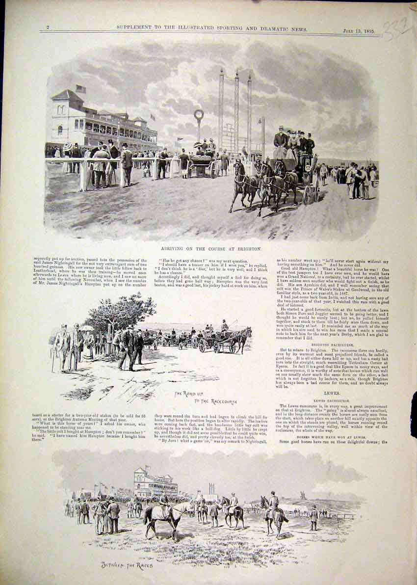 Print 1895 Arriving Race Course Brighton Horses Grand Stand 32Mar1 Old Original