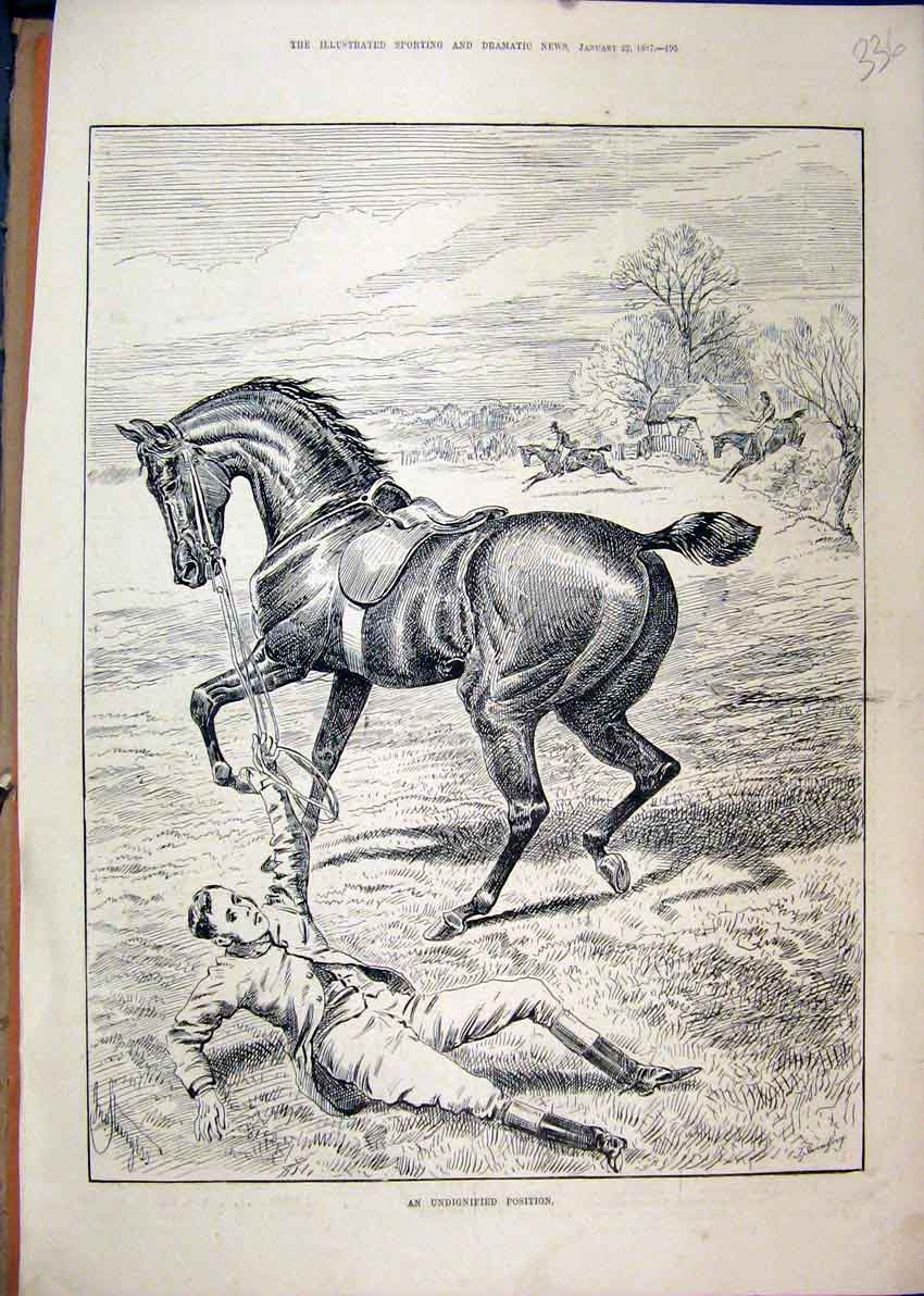 Print 1887 Horse Man Falling Ground Jumping Country Scene 36Mar1 Old Original