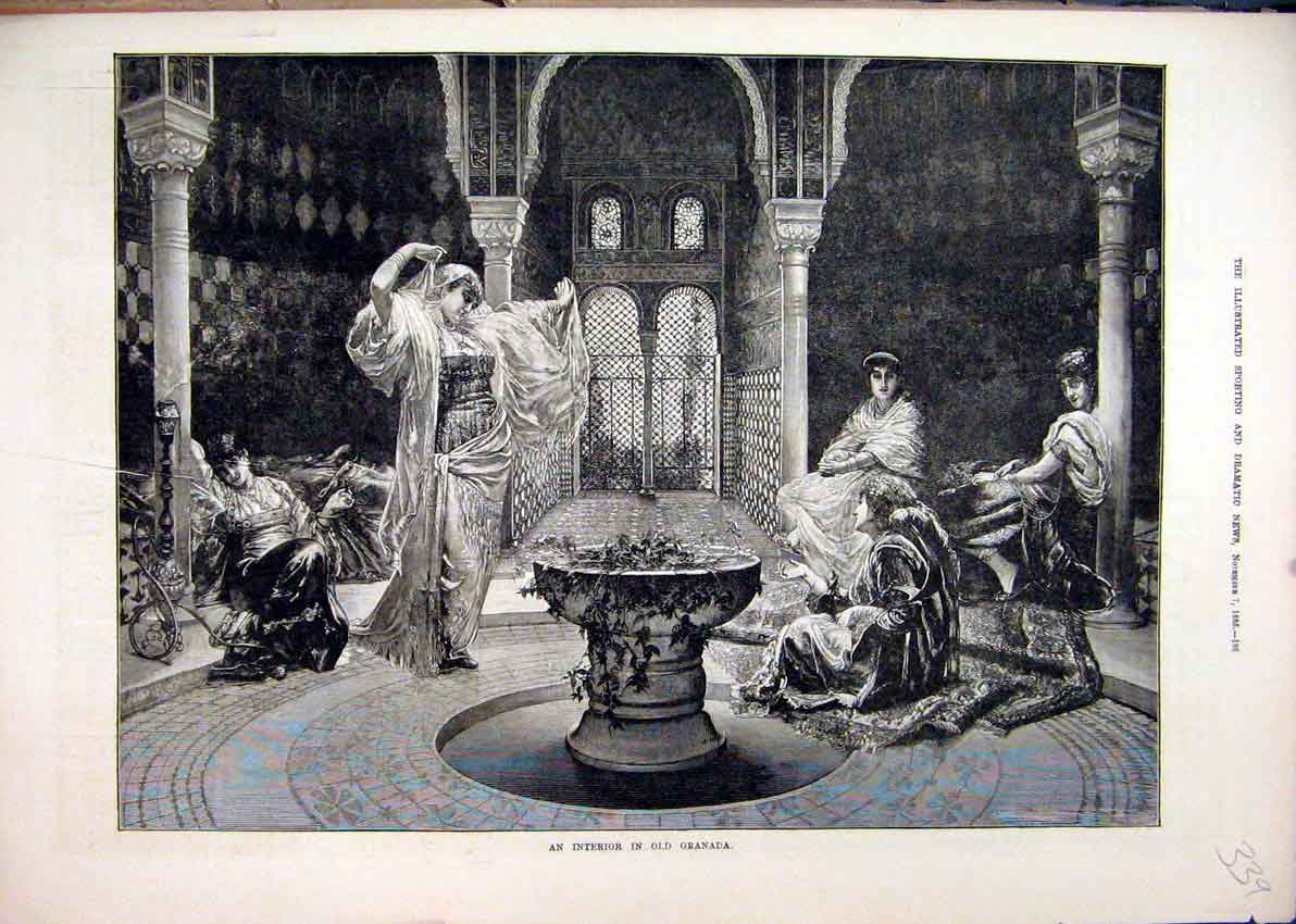 Print 1885 Interior Granada Woman Dancing Art 39Mar1 Old Original