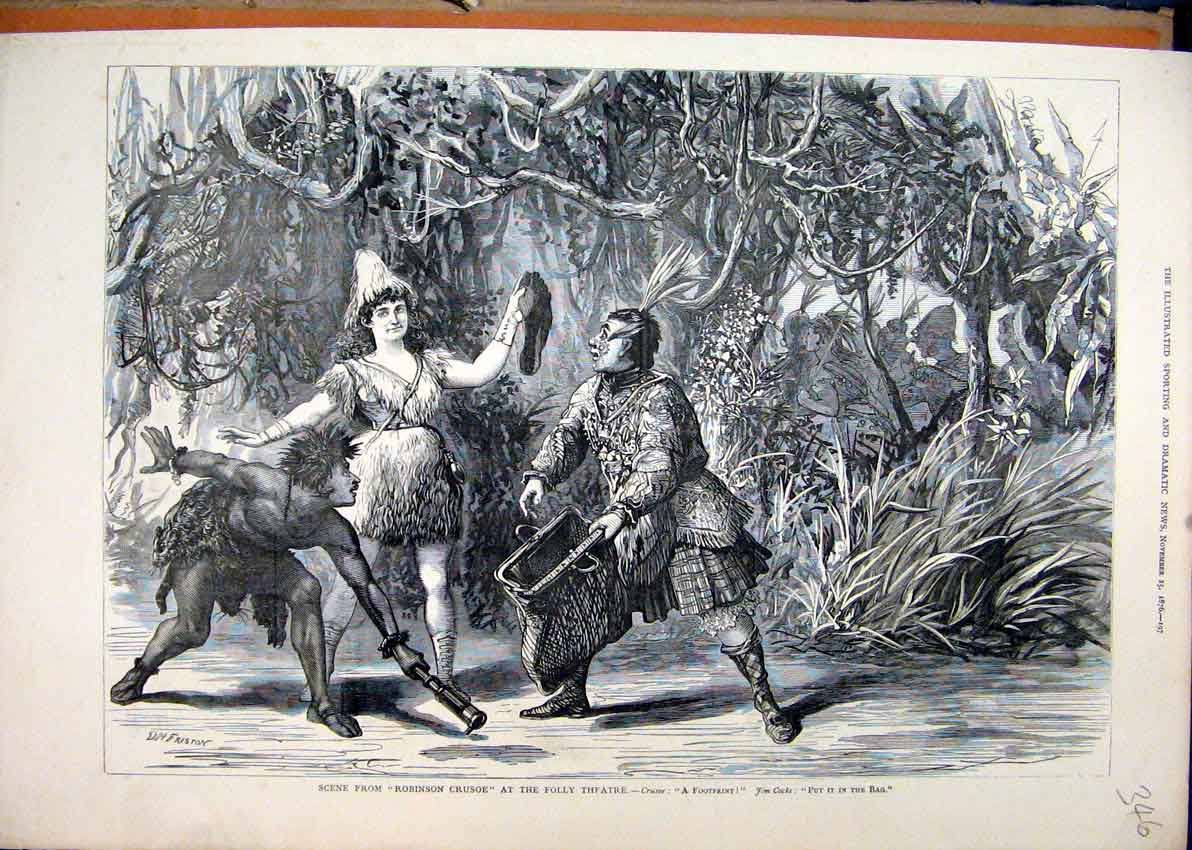 Print 1876 Scene Robinson Crusoe Folly Theatre 46Mar1 Old Original