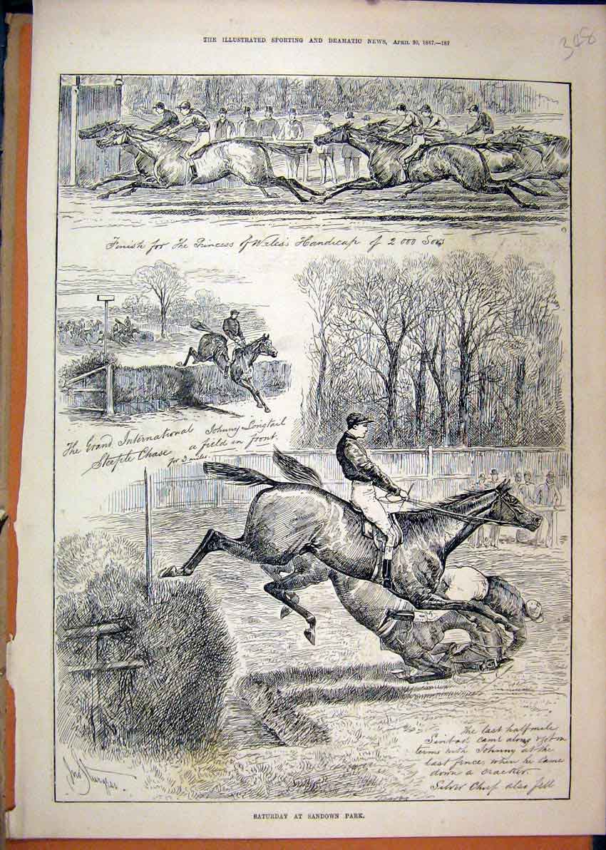 Print Sandown Park 1887 Racecourse Horses Jumping 48Mar1 Old Original