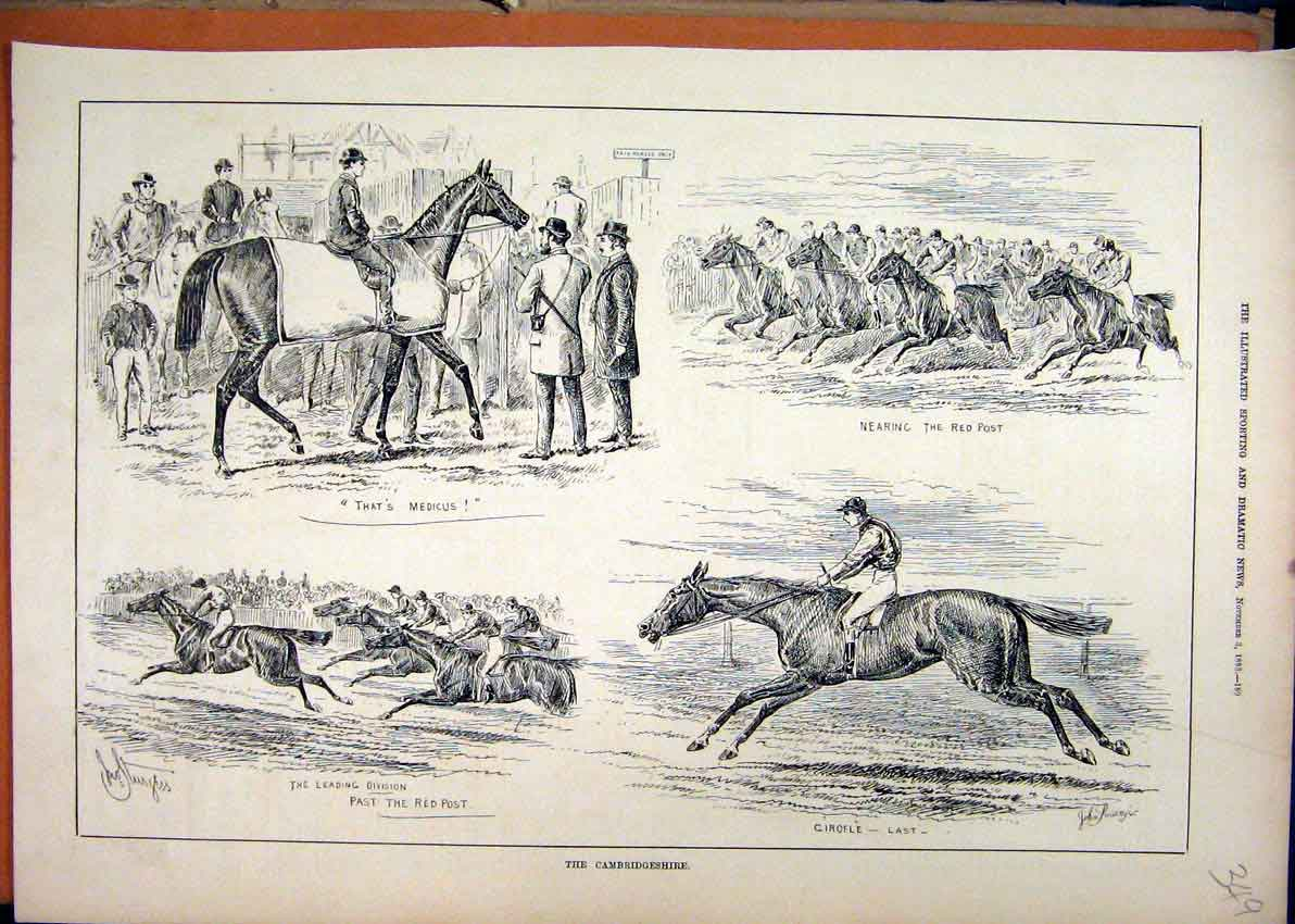 Print Cambridgeshire 1883 Race Course Horses Jockey 49Mar1 Old Original