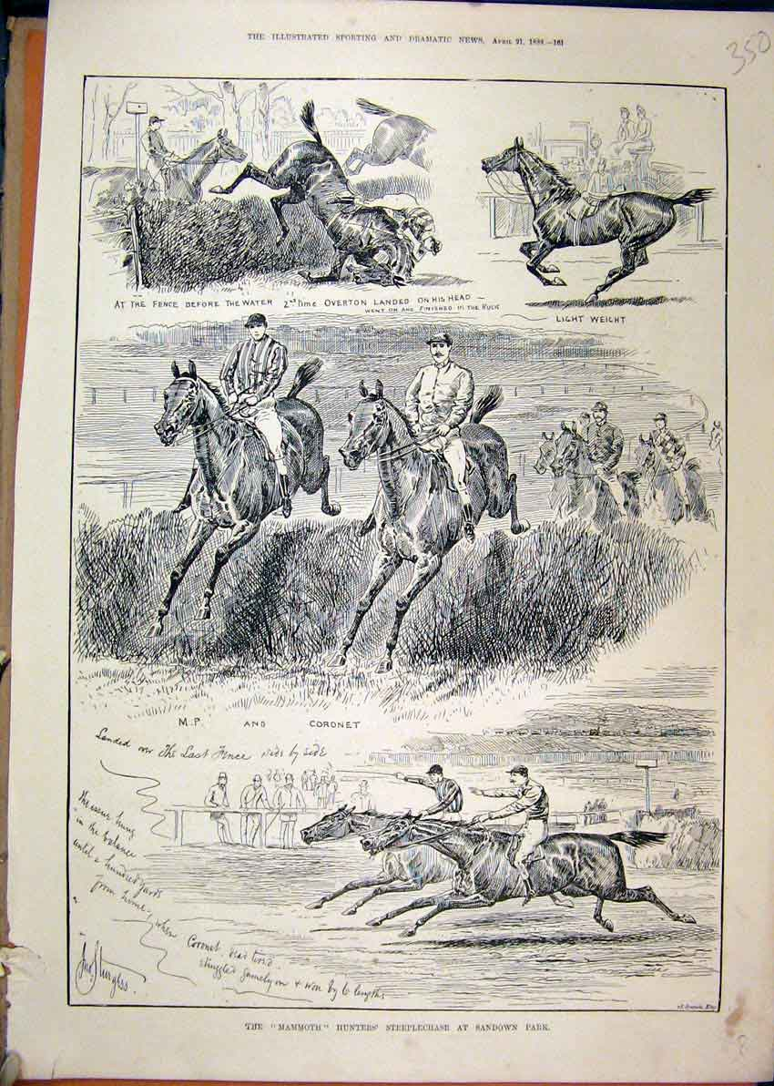 Print Mammoth Hunters Steeplechase 1888 Sandown Park 50Mar1 Old Original