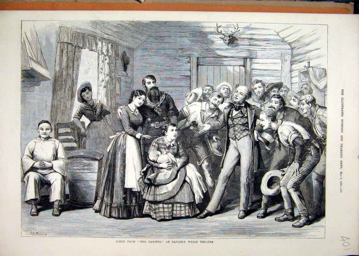 Print 1880 Theatre Scene Danites Sadler Wells Family Baby 01Mar1 Old Original