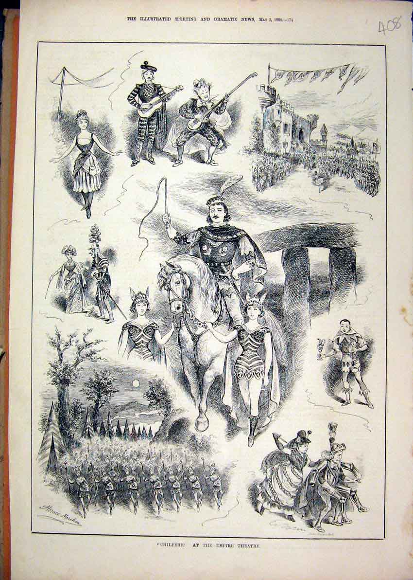 Print Chilperic Empire Theatre 1884 Horse Music Dancing 08Mar1 Old Original