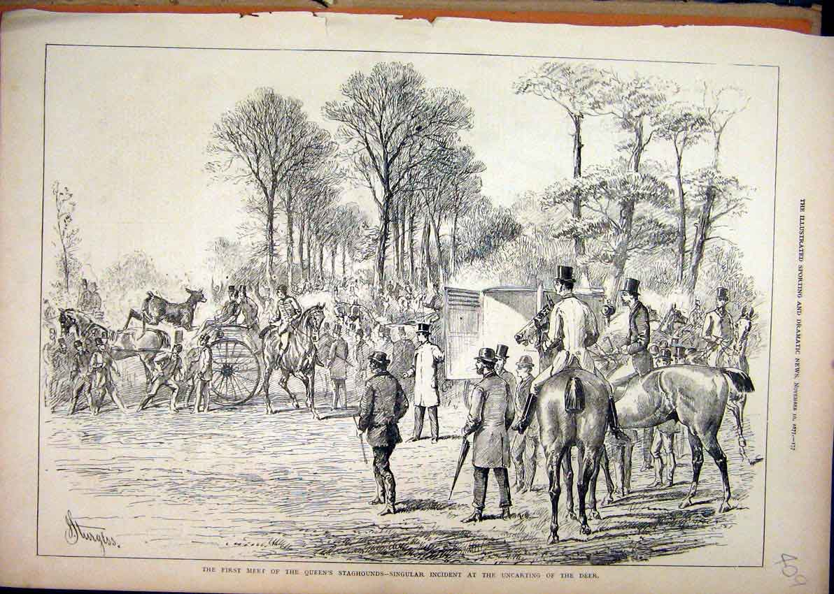 Print Meet Queens Staghounds 1877 Uncarting Deer Country 09Mar1 Old Original