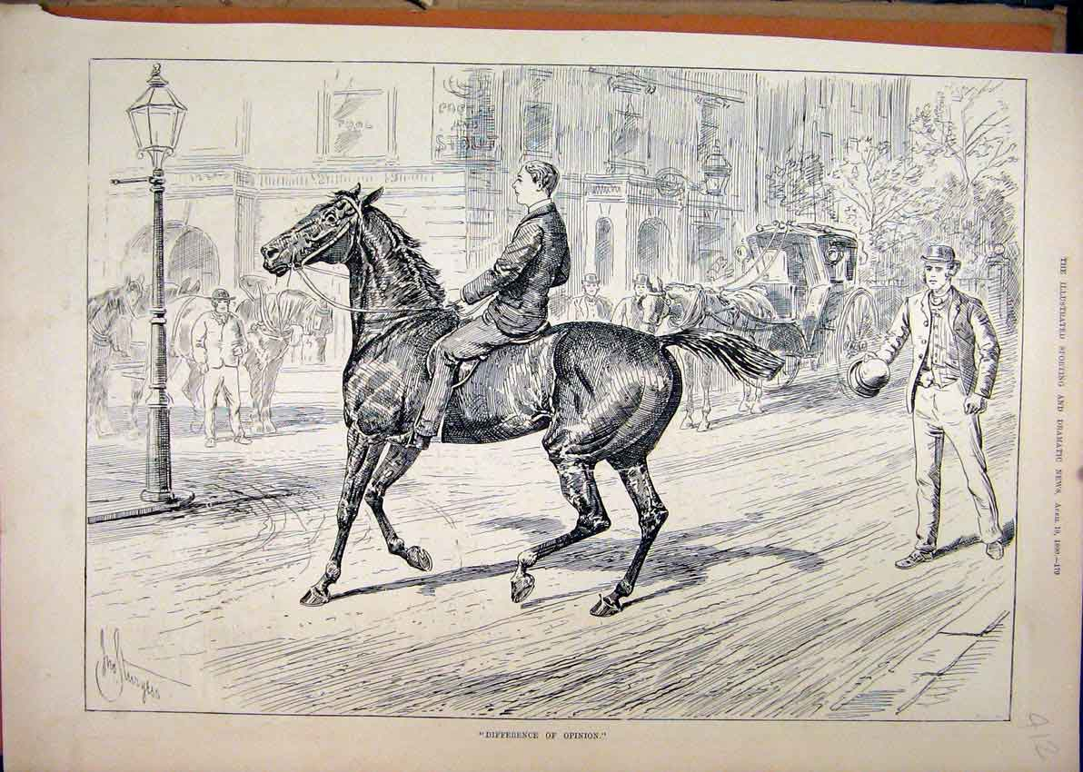 Print 1890 Street Scene Horse Man Building Carriage 12Mar1 Old Original