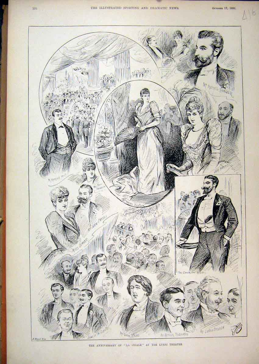 Print Anniversary La Cigale Lyric Theatre 1891 Sketches 16Mar1 Old Original