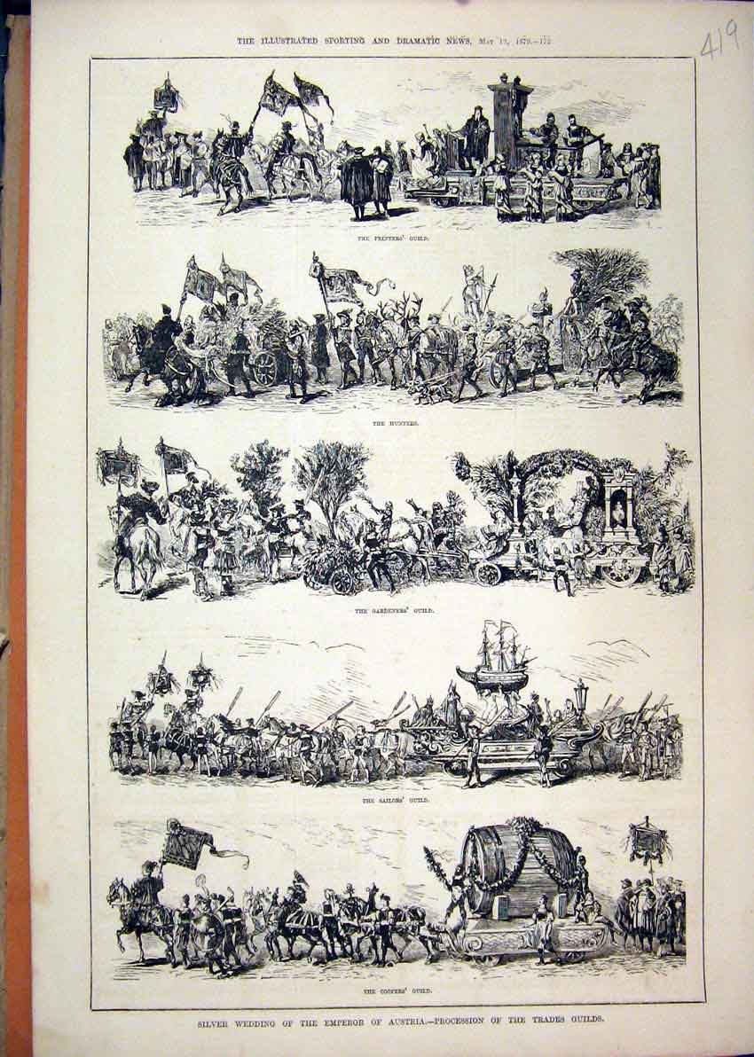 Print 1879 Austria Trades Guilds Ers Hunters Gardener 19Mar1 Old Original