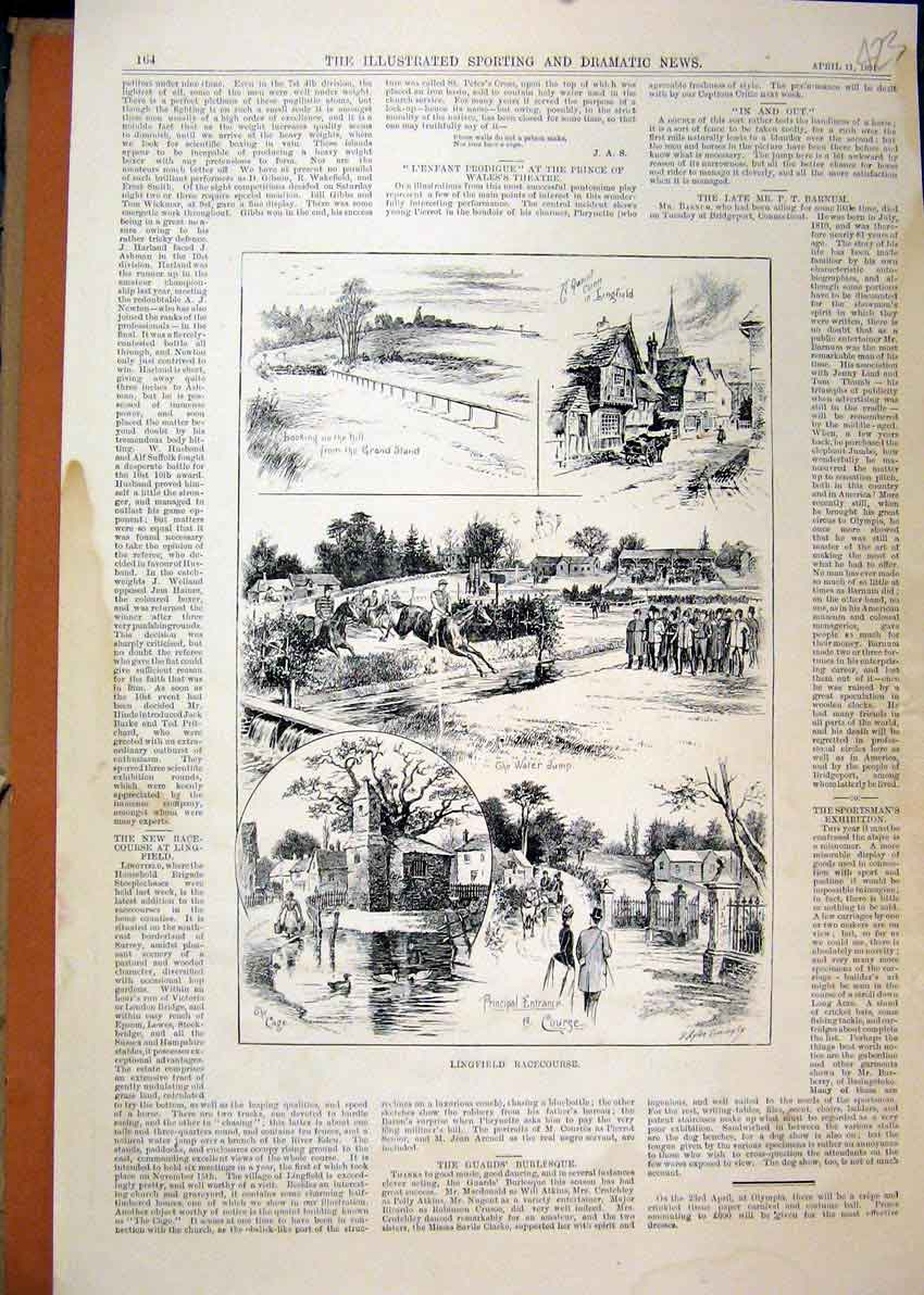 Print Linfield Racecourse 1891 Horses Water Jump Ducks 23Mar1 Old Original