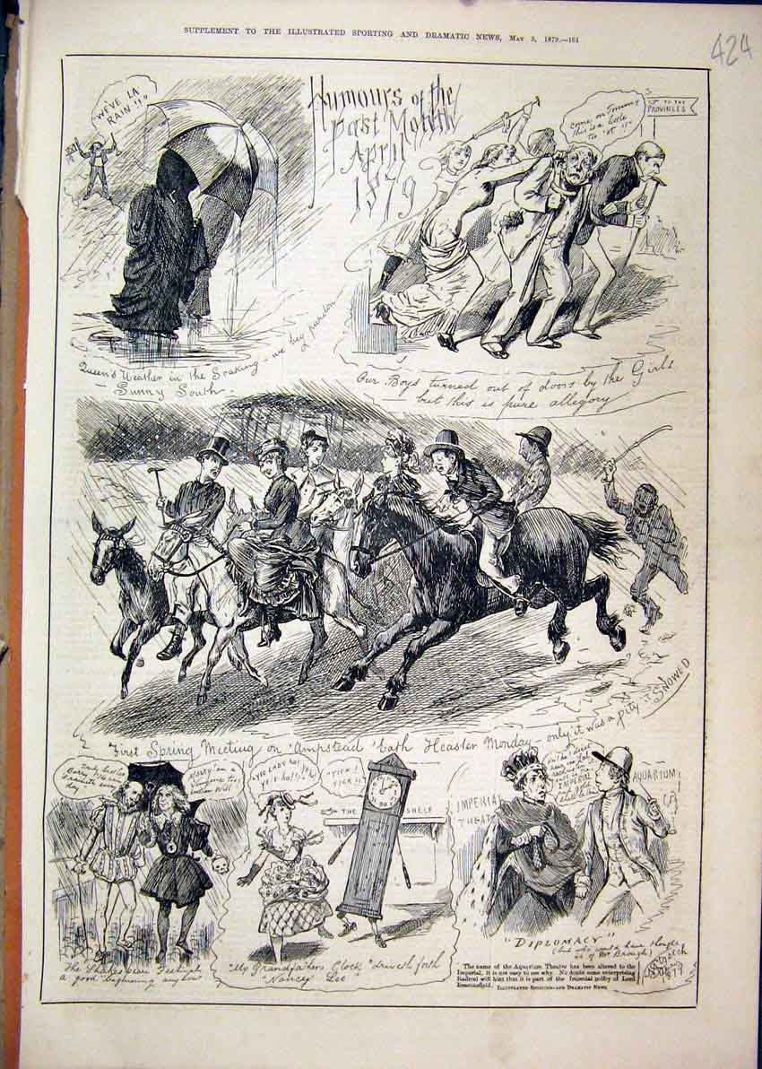 Print Comedy Sketches 1879 Horses Rain Umbrella Clock Queen 24Mar1 Old Original