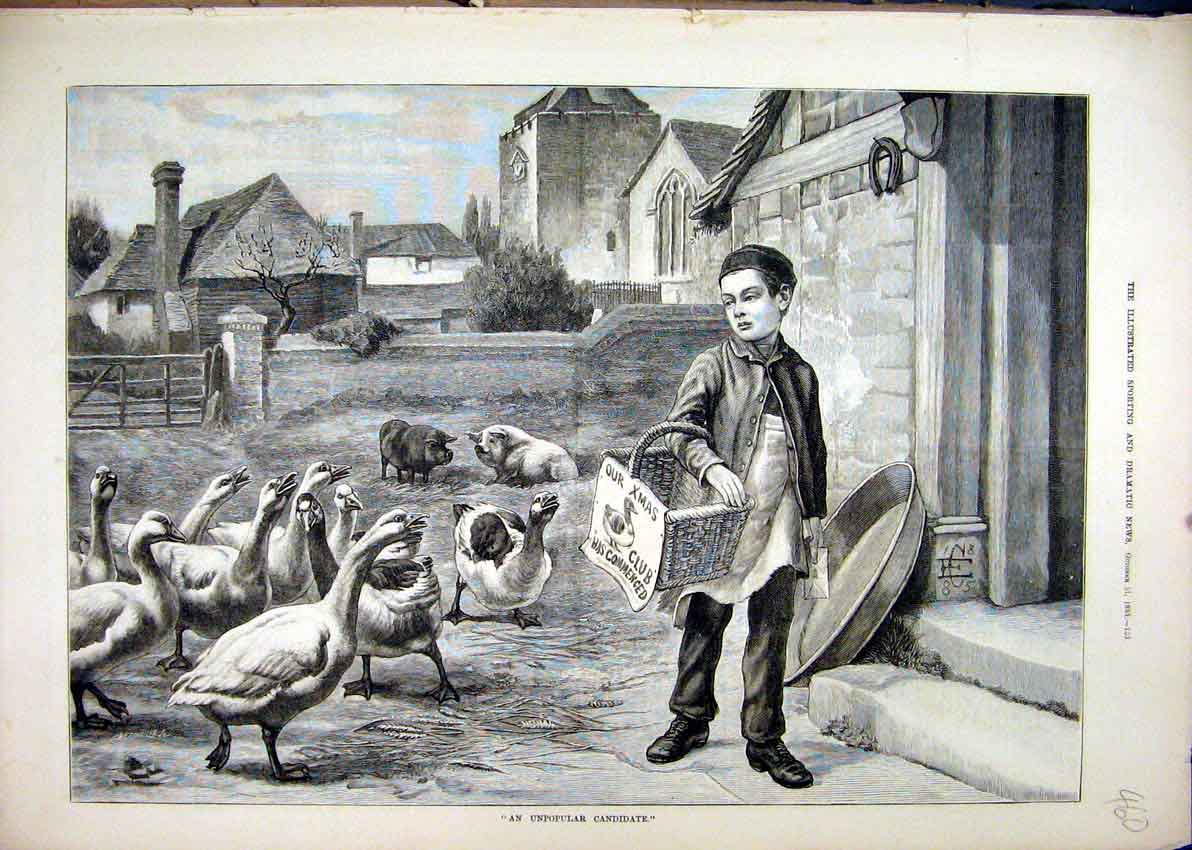 Print Young Boy Christmas Basket 1885 Geese Pigs Village 60Mar1 Old Original