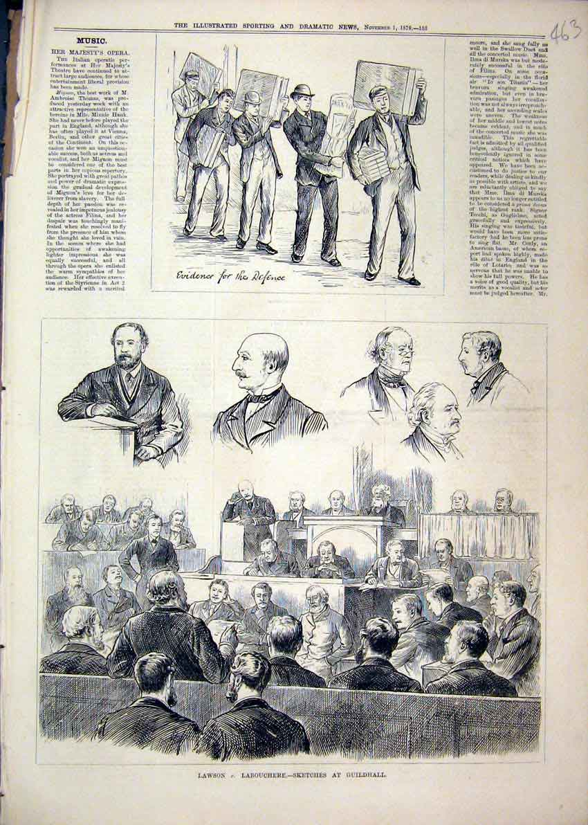 Print Lawson Labouchere Guildhall Court-Room 1879 Evidence 63Mar1 Old Original