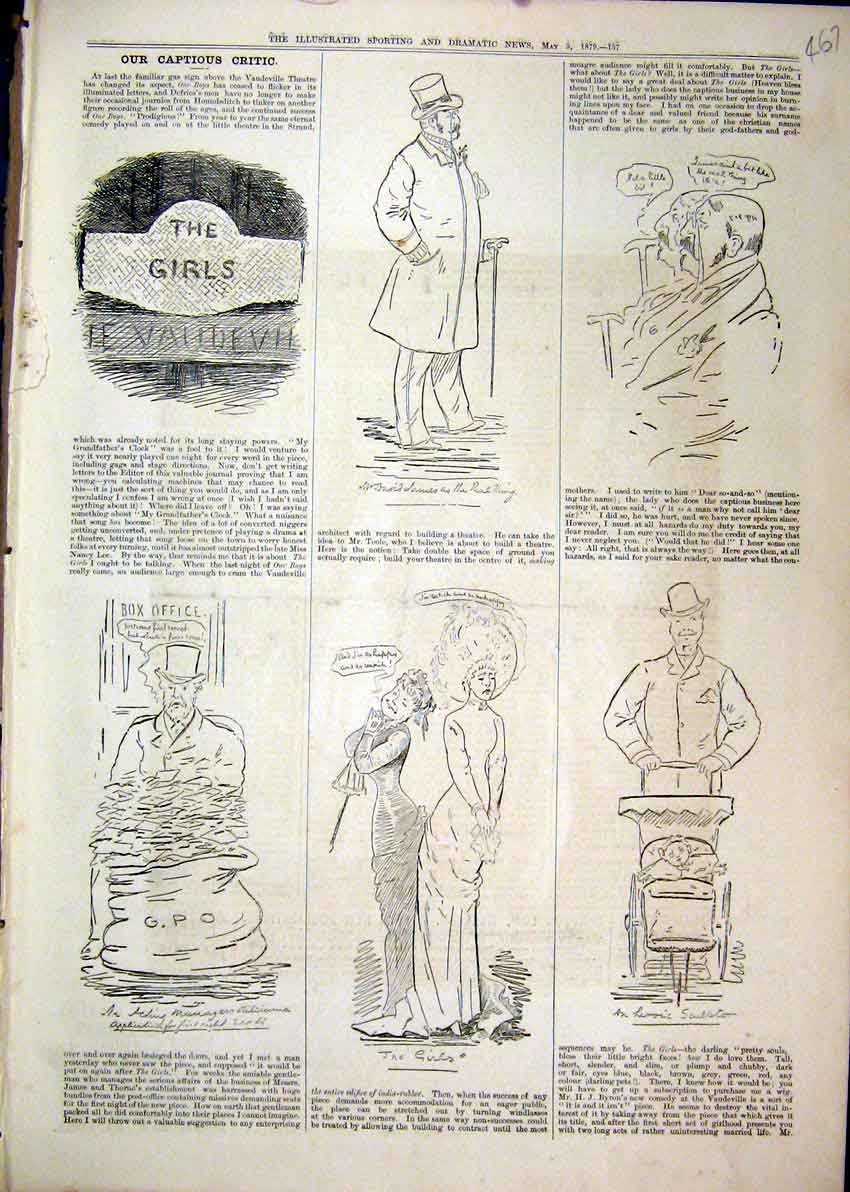 Print 1879 Comedy Sketches Theatre Girls Man Baby Box Office 67Mar1 Old Original
