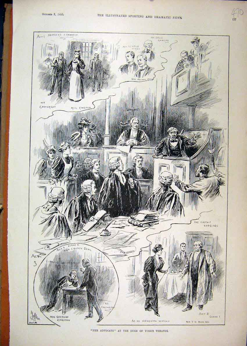 Print 1895 Scenes Her Advocate Duke York Theatre Court 70Mar1 Old Original