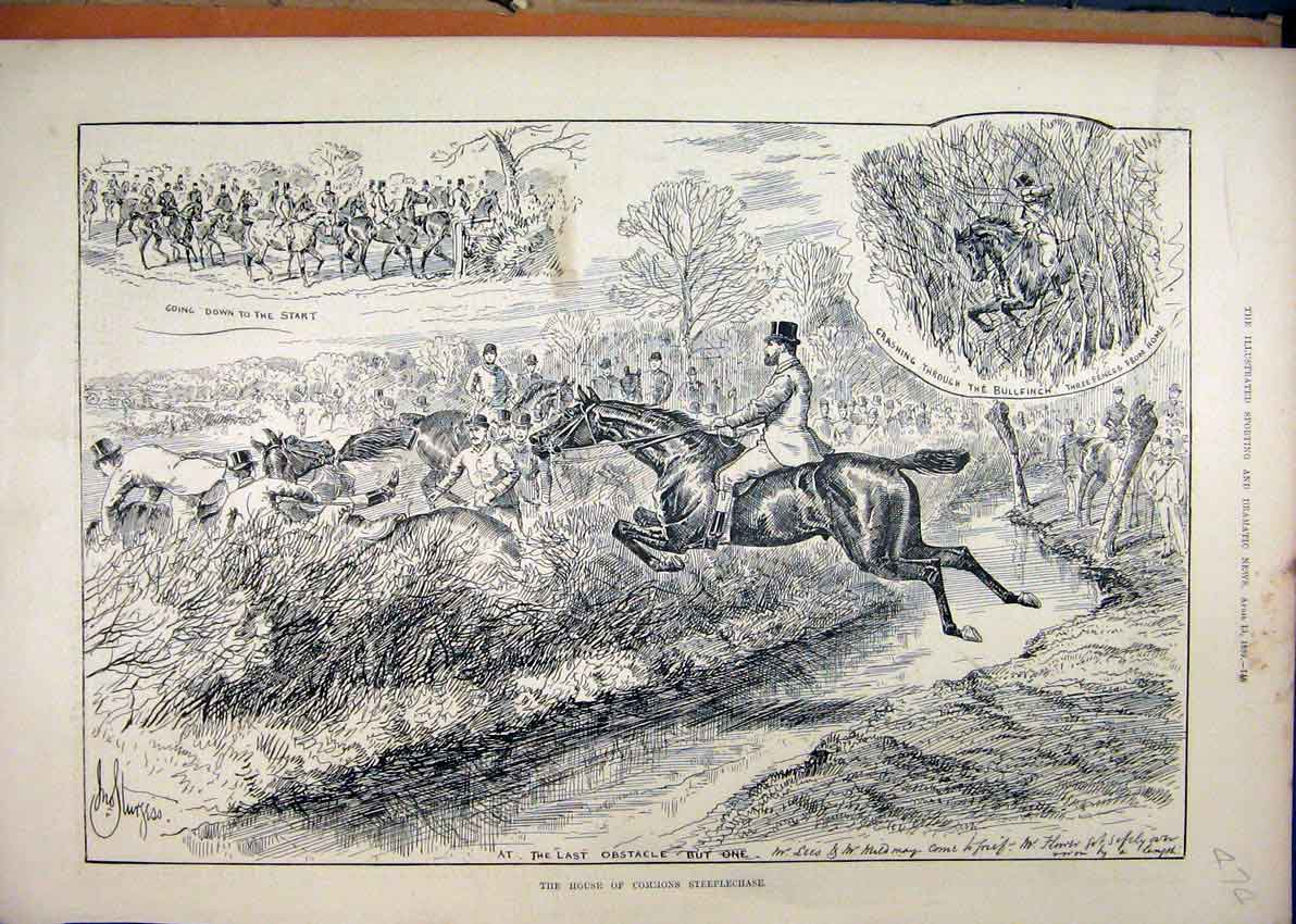 Print House Commons Steeplechase 1889 Horse Jumping Water 74Mar1 Old Original