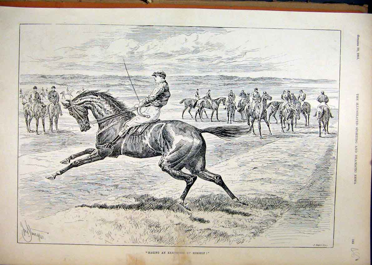 Print 1891 Horse Jockey Running Start Race Country Scene 81Mar1 Old Original