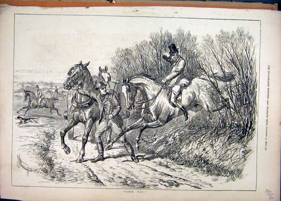 Print 1877 Man Horse Jumpin Fence Accident Country Scene 94Mar1 Old Original