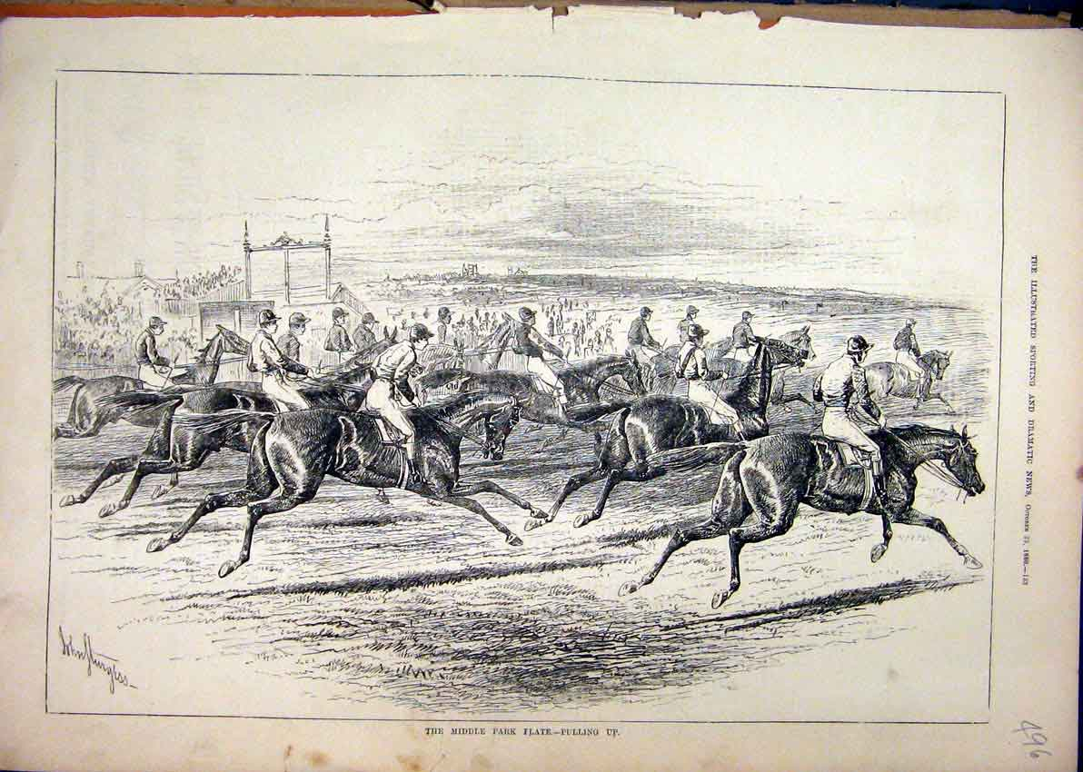 Print 1880 Horse Race Middle Park Plate Prize Finish Line 96Mar1 Old Original