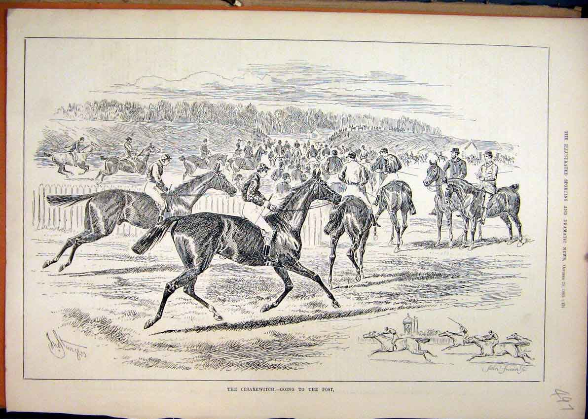 Print 1883 Horse Race Cesarewitch Start Line Jockeys 97Mar1 Old Original