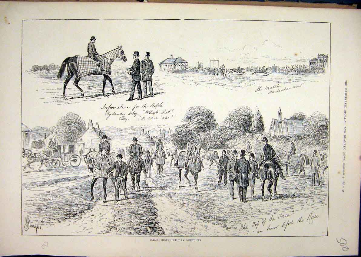Print 1876 Camridgeshire Sketches Horse Carriage Race 00Mar1 Old Original