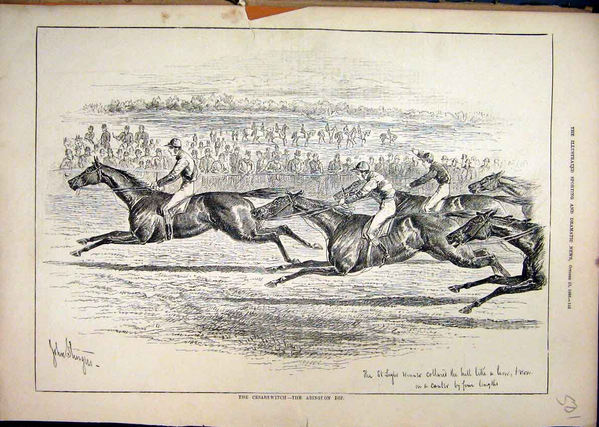 Print 1880 Cesarewitch Abingdon Dip Horse Racing Jockey 01Mar1 Old Original