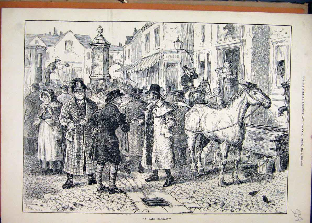 Print Horse Sale 1882 Street Scene Village 04Mar1 Old Original