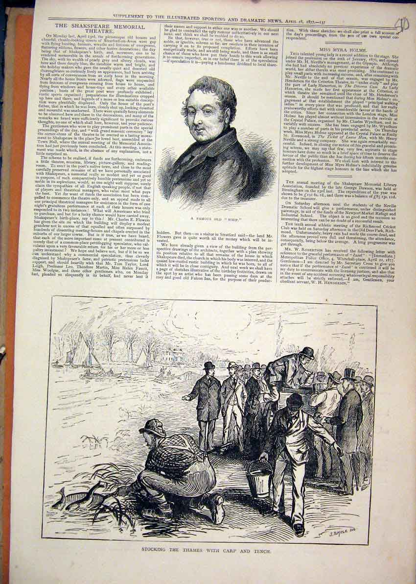 Print 1877 Portrait Famous Whip Stocking River Thames Fish 10Mar1 Old Original