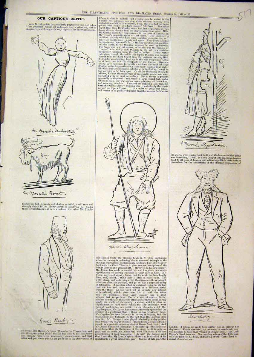 Print 1879 Sketches Stage Humour Goat Illusion Funny Man 17Mar1 Old Original