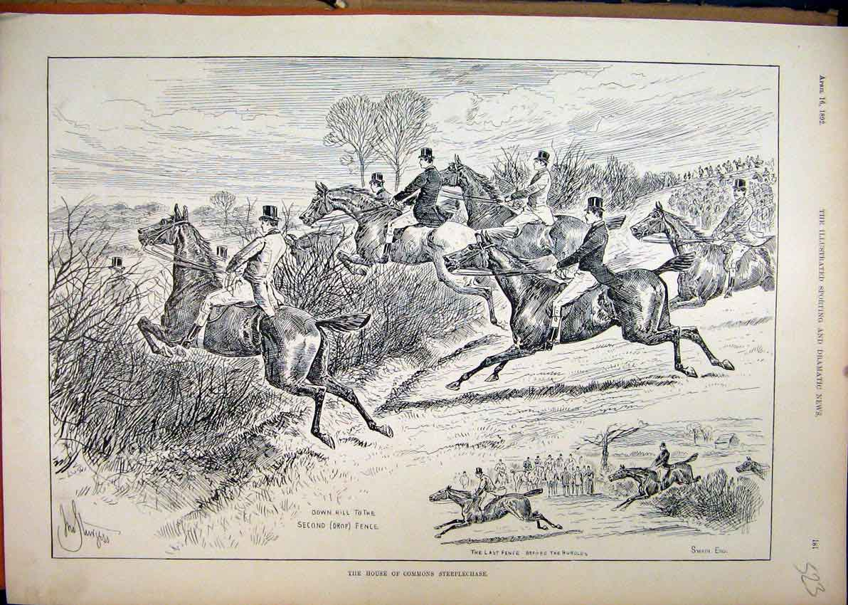 Print 1892 House Commons Steeplechase Horse Jumping Fence 23Mar1 Old Original