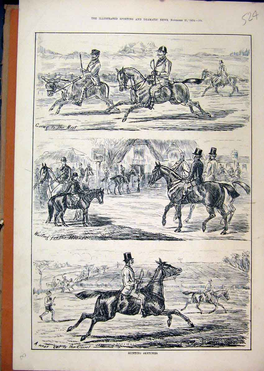 Print Hunting Sketches 1874 Man Donkey Horse Country Scene 24Mar1 Old Original