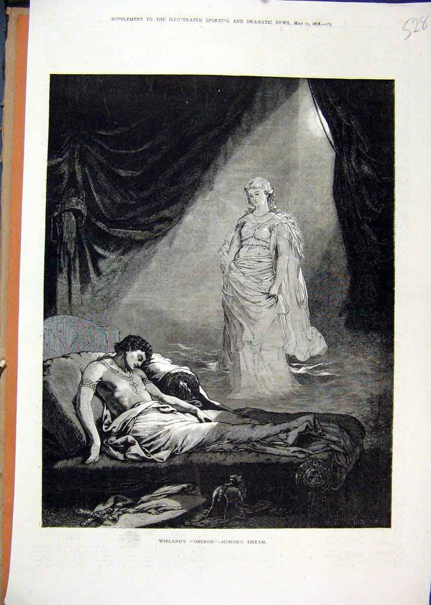 Print Wieland Oberon 1878 Huron Dream Man Sleeping Theatre 28Mar1 Old Original