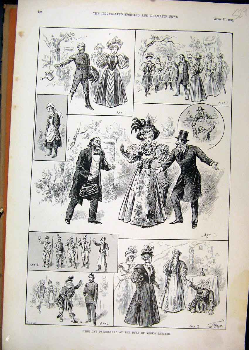 Print 1896 Duke York Theatre Gay Parisienne Romance Scene 29Mar1 Old Original