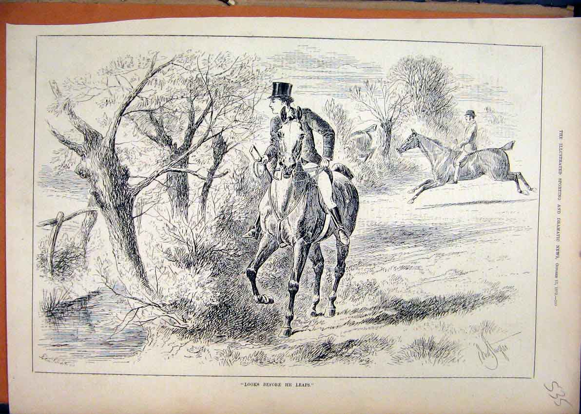 Print 1883 Country Scene Horse Rider Man Jumping Running 35Mar1 Old Original