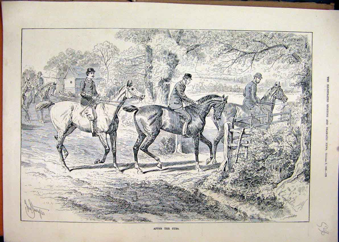 Print 1888 Fox Hunting Horses Riders Gate Country Scene Tree 38Mar1 Old Original