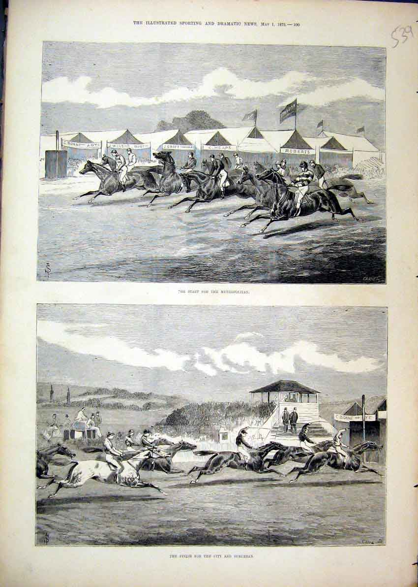 Print Horse Racing 1875 Metropolitan City Suburban Finish 39Mar1 Old Original