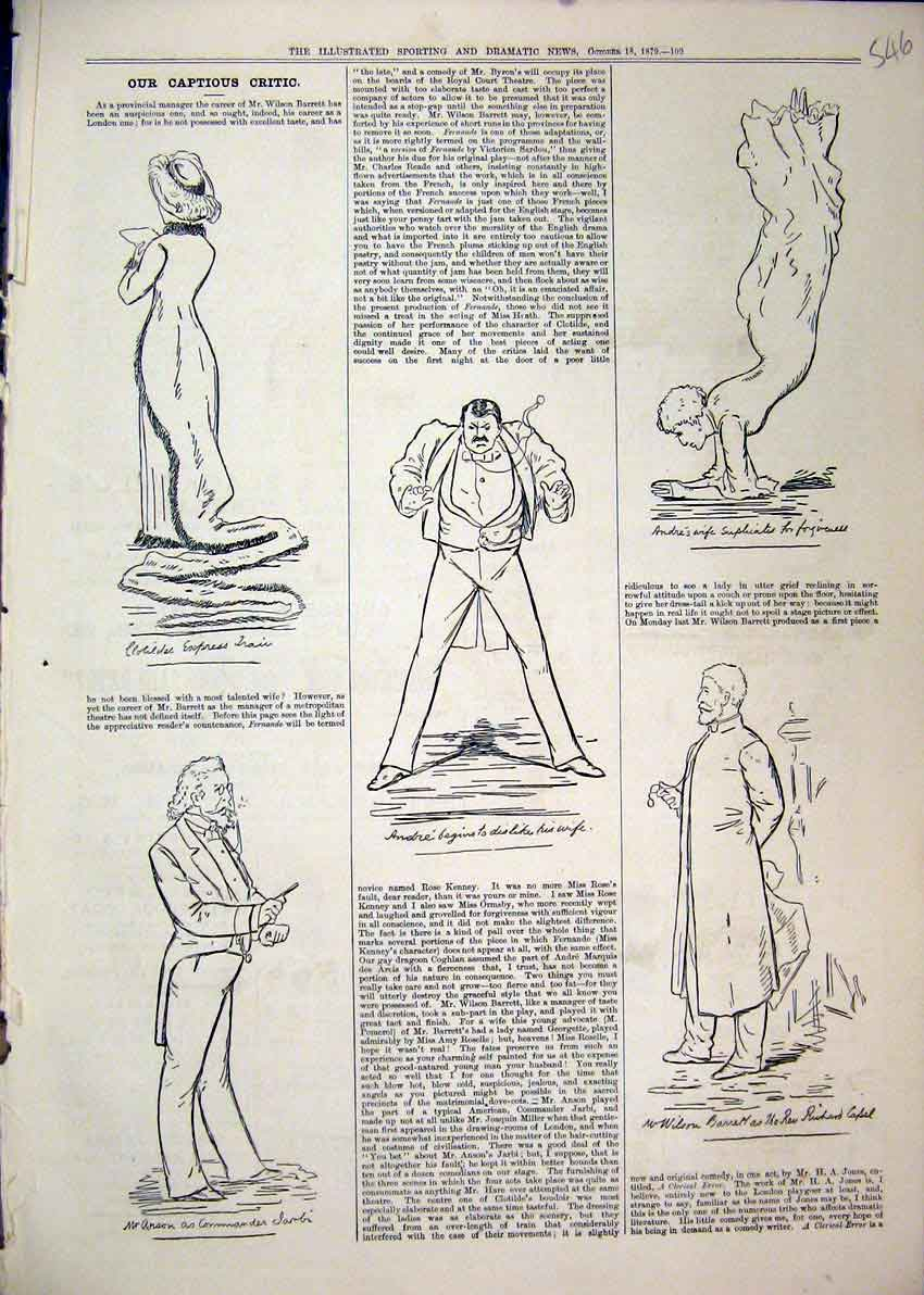 Print 1879 Sketches Anson Andre Wife Wilson Theatre Comedy 46Mar1 Old Original