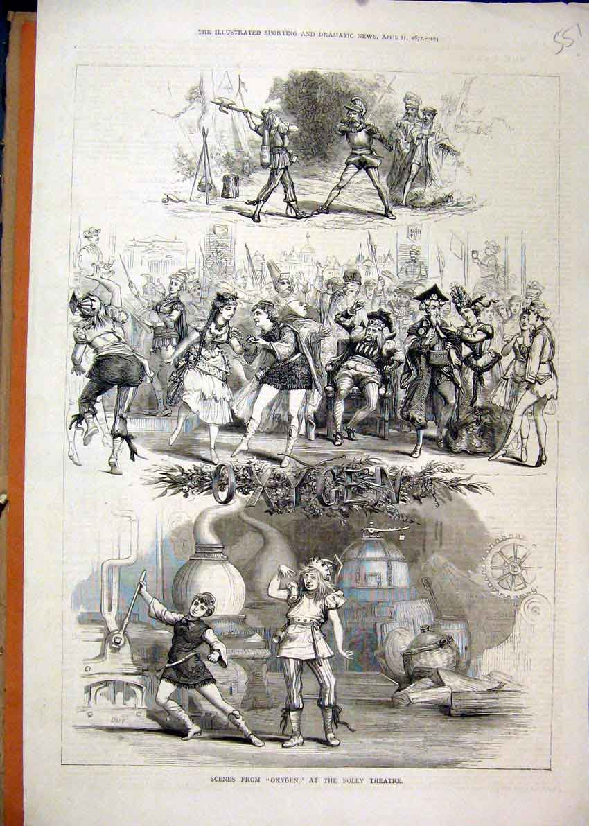 Print 1877 Scene Oxygen Folly Theatre Dancing Sword Fighting 51Mar1 Old Original